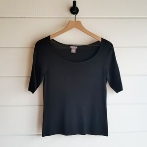 Ann Taylor Black Short Sleeved Sweater